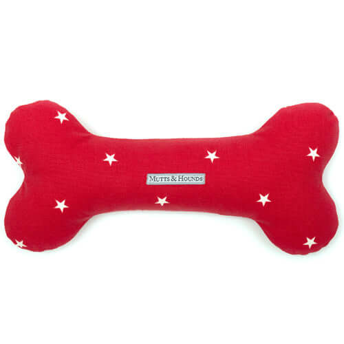 Cranberry Stars Cotton Squeaky Bone Dog Toy