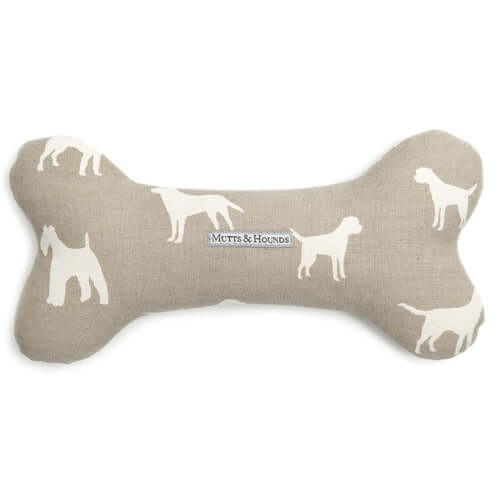 M&H French Grey Squeaky Bone Dog Toy