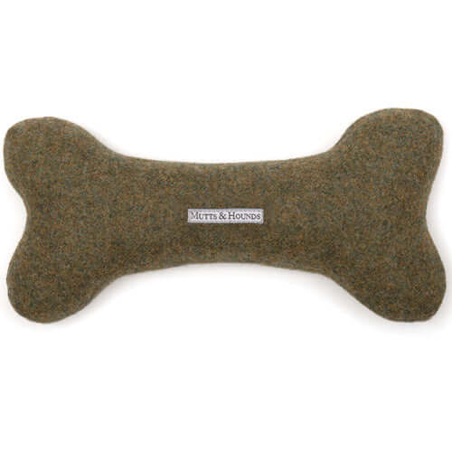 Forest Green Tweed Squeaky Bone Dog Toy