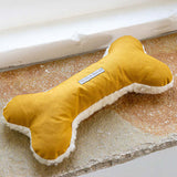 Mustard Wax & Cream Sherpa Squeaky Bone Dog Toy