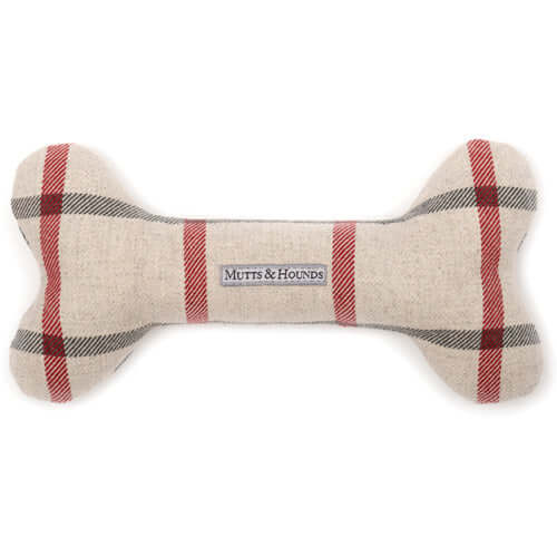 Nottingham Check Squeaky Bone Dog Toy