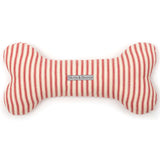 Red Ticking Stripes Squeaky Bone Dog Toy
