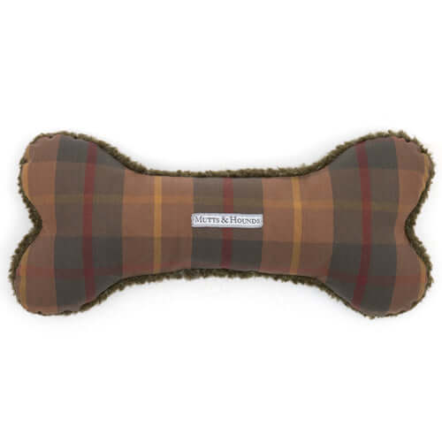Tartan Wax & Olive Sherpa Squeaky Bone Dog Toy