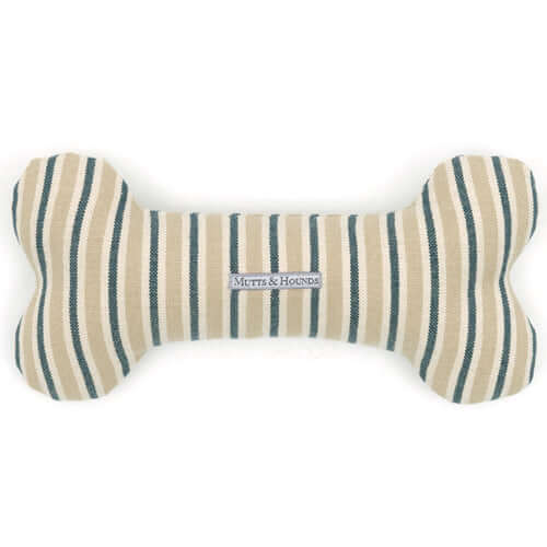 Tetbury Stripe Linen Squeaky Bone Dog Toy
