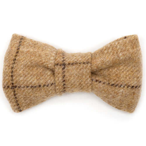 Oatmeal Check Tweed Dog Bow Tie