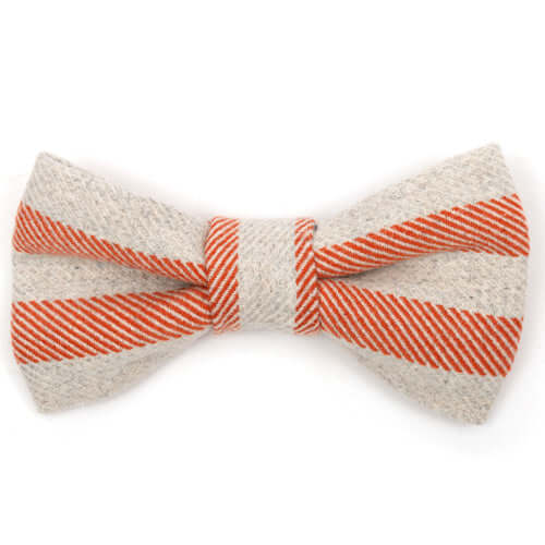 Orange Stripe Brushed Cotton Dog Bow Tie
