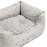 Grey Stars & Charcoal Stripe Boxy Dog Bed