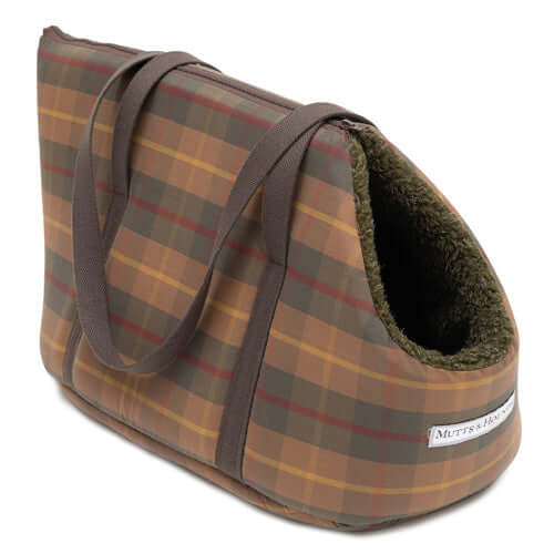 Tartan Wax & Olive Sherpa Dog Carrier