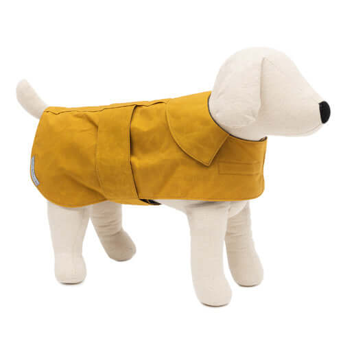 Mustard Waxed Waterproof Dog Coat