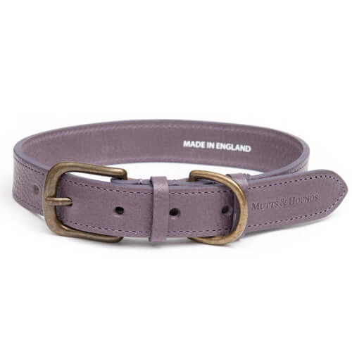Antiqued Mauve Leather Dog Collar