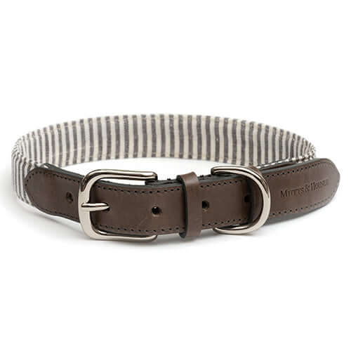 Charcoal Stripe & Leather Dog Collar-  Medium (Seconds)