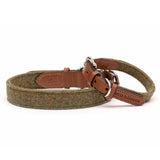 Forest Green Tweed & Tan Leather Dog Collar