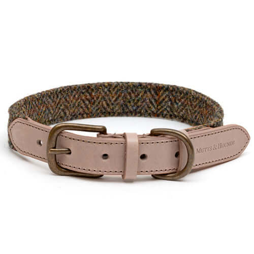 Heritage Tweed & Taupe Leather Dog Collar