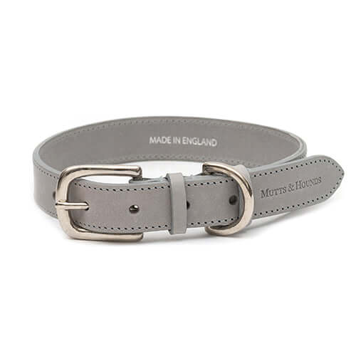 Grey Leather Dog Collar