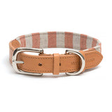Camello Leather & Orange Stripe Dog Collar