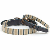 Tetbury Stripe Linen & Navy Leather Dog Collar