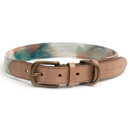 Watercolour & Leather Dog Collar