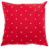 Cranberry Stars Cotton with Red Ticking Stripe Cushion