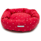 Cranberry Stars Donut Dog Bed