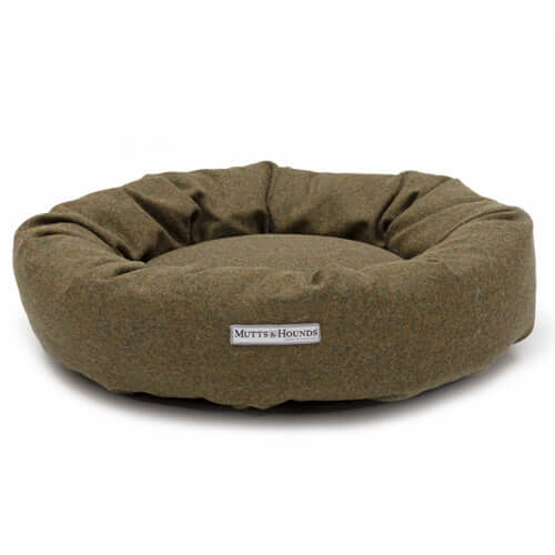 Forest Green Tweed Donut Dog Bed