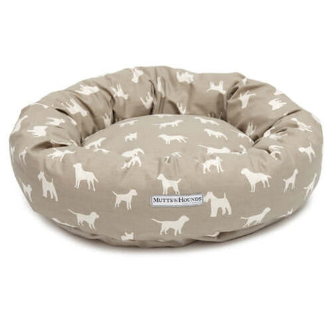 M&H French Grey Donut Dog Bed