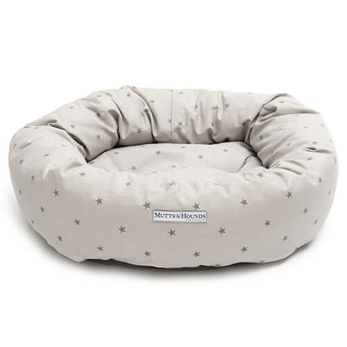 Grey Stars Donut Dog Bed