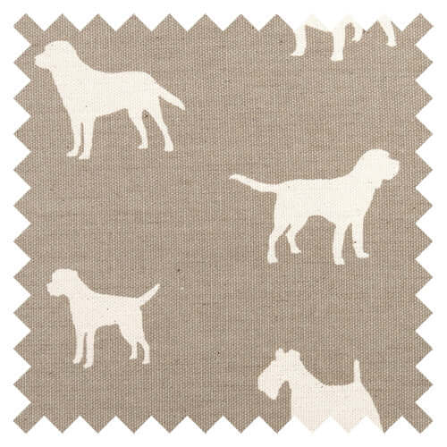 French Grey Dog Print Fabric Sample