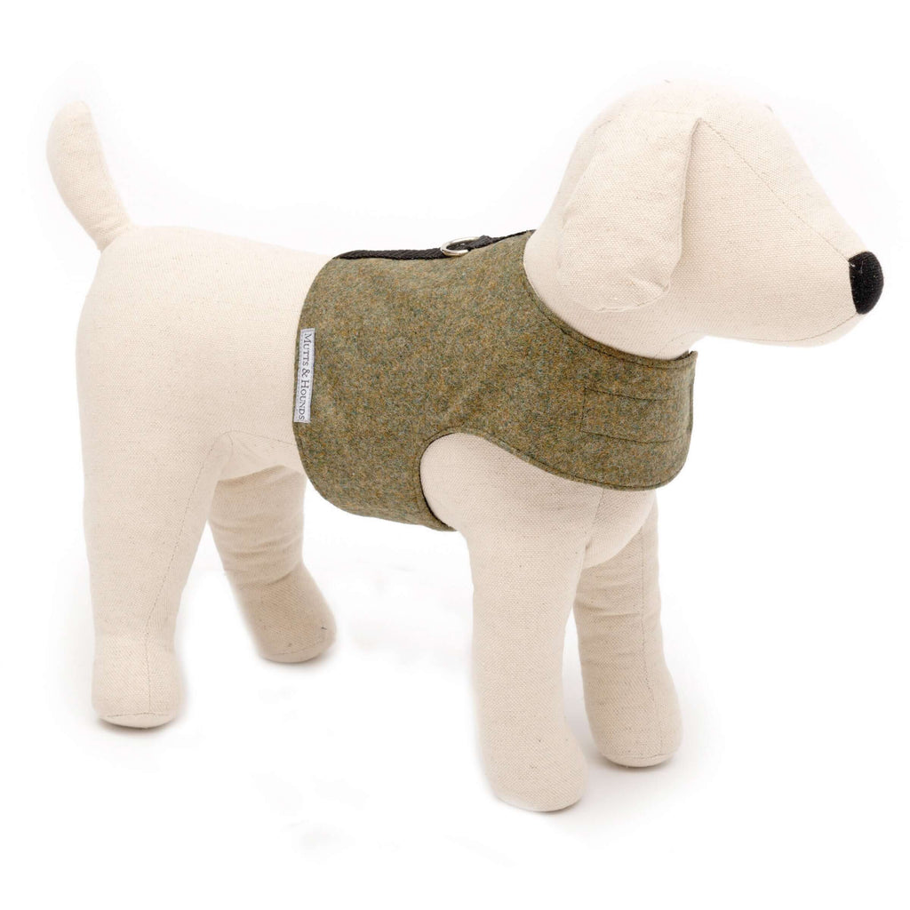 Forest Green Tweed Soft Dog Harness