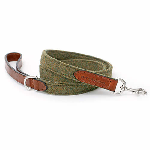 Forest Green Tweed & Tan Leather Lead