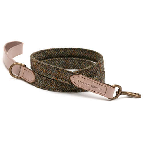 Heritage Tweed & Taupe Leather Dog Lead