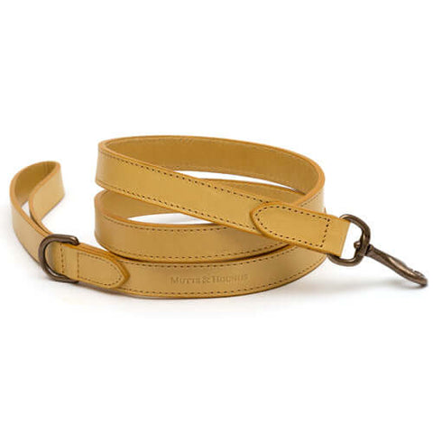 Mustard Full Leather Dog Lead