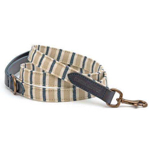 Tetbury Stripe Linen & Navy Leather Dog Lead