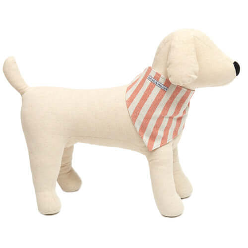 Orange Stripe Brushed Cotton Dog Neckerchief (Velcro Fastening)