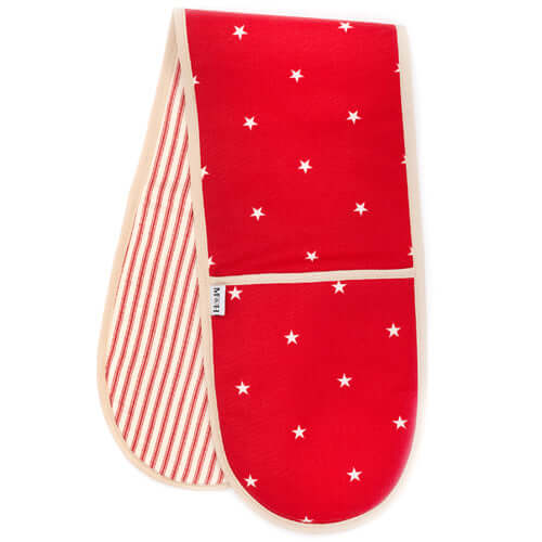 Cranberry Stars With Red Ticking Stripe Oven Gloves