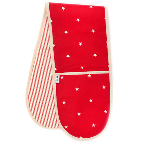 Cranberry Stars Cotton With Red Ticking Stripe Oven Gloves