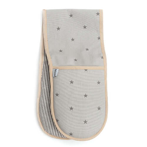 Grey Stars & Charcoal Stripe Oven Gloves
