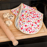 Posie Cotton with Chambray Stripe Oven Gloves
