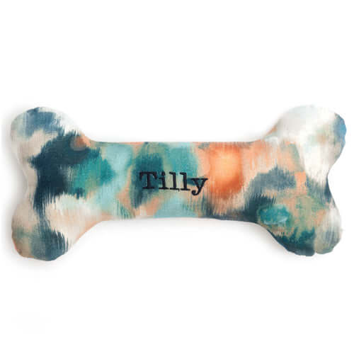 Personalised Watercolour Squeaky Bone Dog Toy