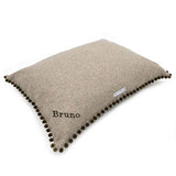 Grey Tweed Pillow Dog Bed with Pom Poms