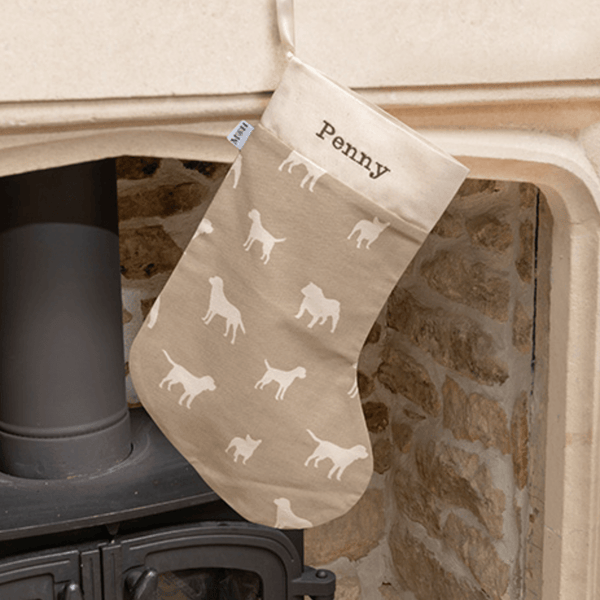 Personalised M&H Dog Print Christmas Stockings