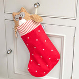 Cranberry Stars Cotton with Red Ticking Stripe Topper Christmas Stocking