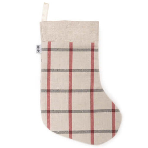 Nottingham Check with Linen Topper Christmas Stocking