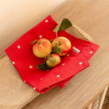 Cranberry Stars Cotton Tea Towel