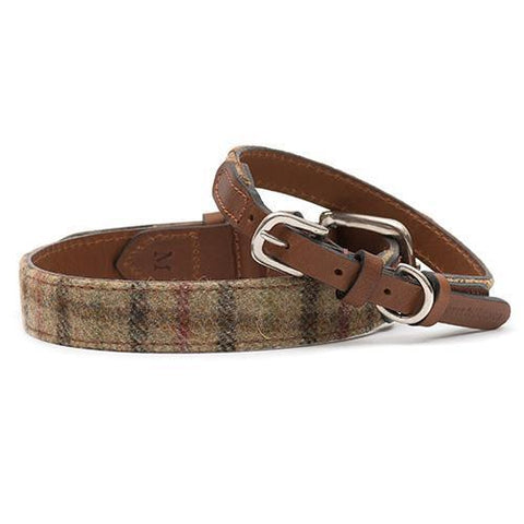 Balmoral Check Tweed & Leather Dog Collar