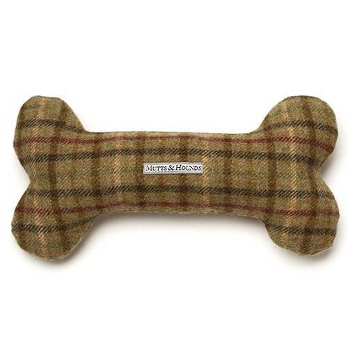 Mutts and Hounds Luxury Balmoral Tweed Squeaky Bone Toy