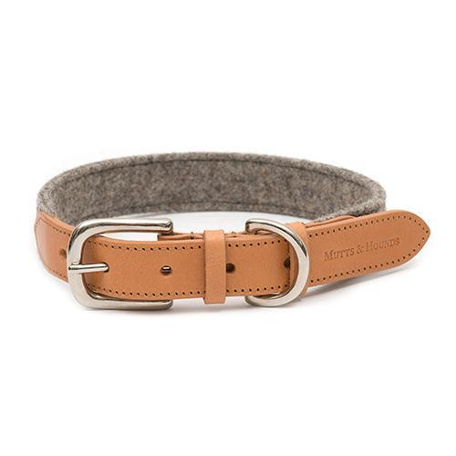 Mutts and Hounds Luxury Camello Leather & Grey Tweed Dog Collar
