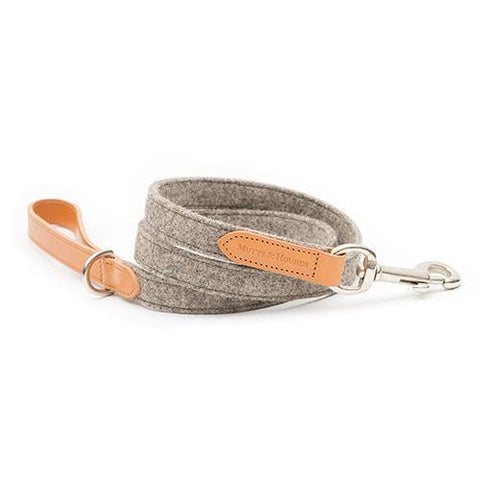 Camello Leather & Grey Tweed Dog Lead