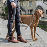 Mutts and Hounds Luxury Camello Leather & Grey Tweed Dog Lead