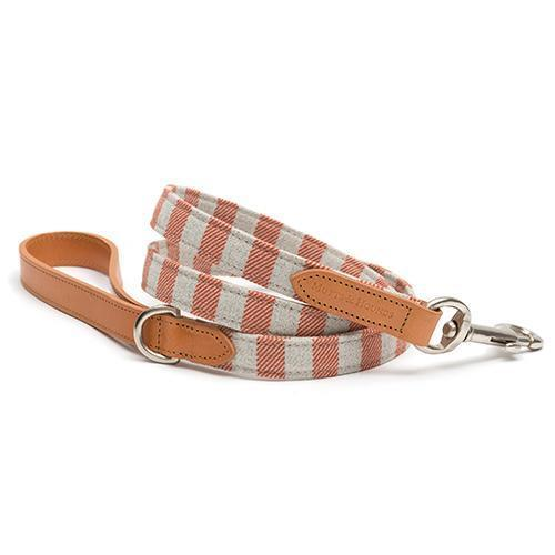 Mutts and Hounds Luxury Camello Leather & Orange Stripe Dog Lead