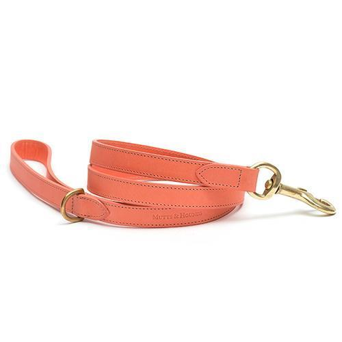 Mutts and Hounds Luxury Coral Leather Dog Lead